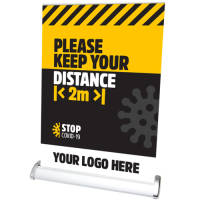 Social Distancing Roll Up Banner In A4 With Full Colour Branding From Total Merchandise