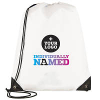 Custom Printed Individually Named Drawstring Rucksacks from Total Merchandise