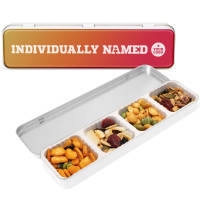 Custom branded Protein Snack Slim Tins printed with the individual names from Total Merchandise