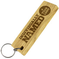 Custom Engraved Wooden Keyrings with Individual Names from Total Merchandise