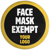 Custom Printed Face Mask Exempt Button Badges from Total Merchandise