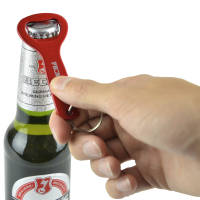 Custom Engraved Aluminium Bottle Opener Keyrings in Red from Total Merchandise