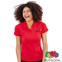 Custom Branded Fruit of the Loom Lady Fit Polo Shirts with Individual Names in Red