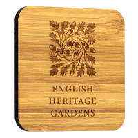 Branded Bamboo Square Coasters in a caramel colour with engraved design by Total Merchandise