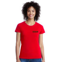 Gildan Ladies Heavy Cotton T-Shirts Printed with Individual Names in Red from Total Merchandise