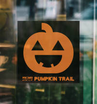 Branded Self-Cling Window Stickers for Halloween Pumpkin Trails and Seasonal Events