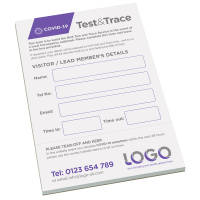 Custom Branded Covid-19 Test and Trace Pad for Businesses from Total Merchandise
