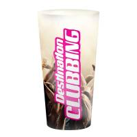 Full colour custom branded 500ml Plastic Festival Cups with a logo printed all over