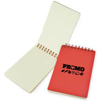 Promotional A5 Jotter Notebook Open with Lined Pages and Red Covers Printed by Total Merchandise