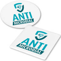 Custom printed Antimicrobial Coasters in either Square or Circle Shapes from Total Merchandise