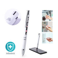 Branded Antibacterial Stylus Pen with company logo printed on barrel by Total Merchandise