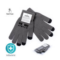 Branded touch screen gloves in grey colour with black tips for smartphones by Total Merchandise
