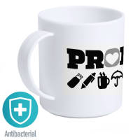 Branded Antibacterial Mugs in White wth your Company Logo Printed on it by Total Merchandise