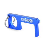 Promotional Aluminium Hygiene Keyring in blue with engraving by Total Merchandise