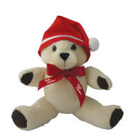 Promotional 10 Inch Honey Jointed Teddy Bear with Christmas Hat and Bow by Total Merchandise