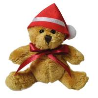 Promotional 5 Inch Robbie Teddy Bear with Christmas Hat and bow by Total Merchandise