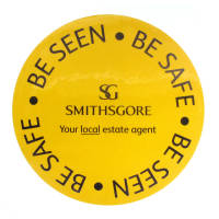 Promotional Reflective Stickers in yellow colour and round shape with your logo by Total Merchandise