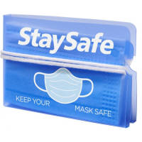 Promotional Fold-up Face Mask Wallets in Transparent Blue Colour with Branding by Total Merchandise