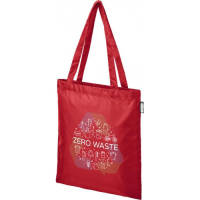 Promotional rPET Tote Bags in red colour with branding by Total Merchandise
