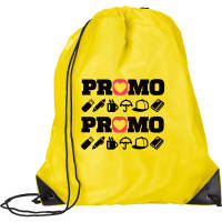 Promotional rPET Drawstring Bag in yellow colour with branding on the front by Total Merchandise