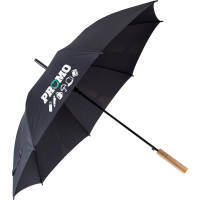 Branded opened rPET Umbrella in black colour by Total Merchandise
