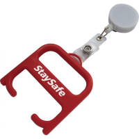 Promotional Hygiene Handle with Pull Reel in Red/White colour with branding by Total Merchandise