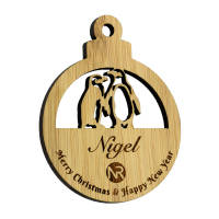 Promotional Moso Bamboo Christmas Baubles with Penguin design by Total Merchandise