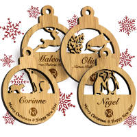 Promotional Moso Bamboo Christmas Bauble Sets with 4 designs printed with logo by Total Merchandise