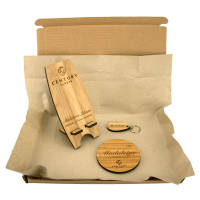 Promotional Moso Bamboo Phone Stand, Coaster & Keyring Sets with your logo by Total Merchandise