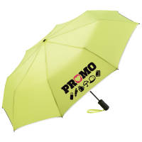Promotional Fare Reflective Edge Umbrellas in Neon Yellow with branding by Total Merchandise