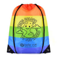 Promotional Rainbow Drawstring Bags printed with a company logo by Total Merchandise