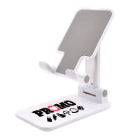 Promotional Adjustable Foldable Tablet & Phone Stand in White colour with logo by Total Merchandise