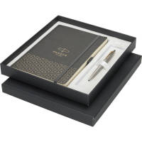 Promotional Parker Gift Set with A5 Notebook embossed with your design by Total Merchandise