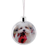 Promotional Flat Christmas Bauble printed with your design by Total Merchandise