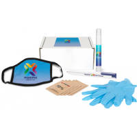 Promotional Hygiene Starter Box with printed hygiene items in a branded box by Total Merchandise