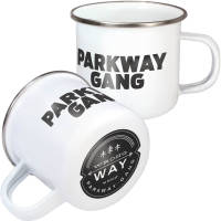 Promotional Steel Rim 10oz Premium Enamel Mugs in White/Steel colour with print by Total Merchandise