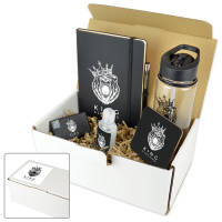 Custom printed gift boxes with bottle, notebook, pen, mints, coaster & sanitiser with your logo