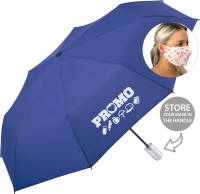 Custom Printed Face Mask Storage Umbrellas in Euro Blue with your company logo by Total Merchandise