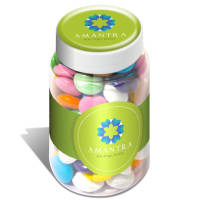 Promotional Mini Sweet Jars with beanies printed with your logo by Total Merchandise