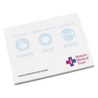 Promotional Antimicrobial Sticky Notes in White colour with printed design by Total Merchandise