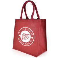 Promotional Karg Jute Shopper Bag in red printed with your logo by Total Merchandise