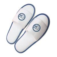 Promotional Open Toe Slippers in White/Blue with printed company logo on top by Total Merchandise