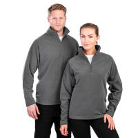 A man and woman wearing Result Core Half Zip Fleece Jackets in charcoal from Total Merchandise