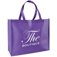 Promotional Recyclable Non-Woven Shopper Bags in purple printed with a logo by Total Merchandise