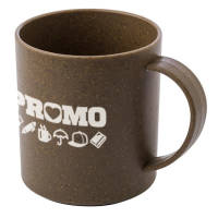 Promotional Eco Coffee Fibre Mugs in coffee bean colour with printed design by Total Merchandise