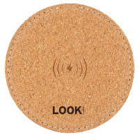 Promotional Oaky Wireless Charger made using cork with a logo on top by Total Merchandise