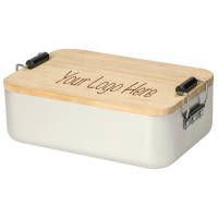 Promotional Aluminium & Bamboo Lunch Boxes in Silver/Natural to be branded by Total Merchandise