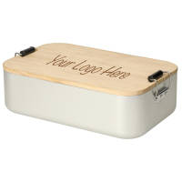 Promotional Large Aluminium & Bamboo Lunch Boxes to be printed by Total Merchandise