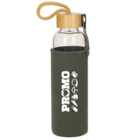 Promotional 550ml Glass Bottle with Sleeve and Bamboo Lid by Total Merchandise