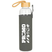 Promotional 750ml Glass Bottle with Sleeve in Transparent/Grey with Bamboo Lid by Total Merchandise
